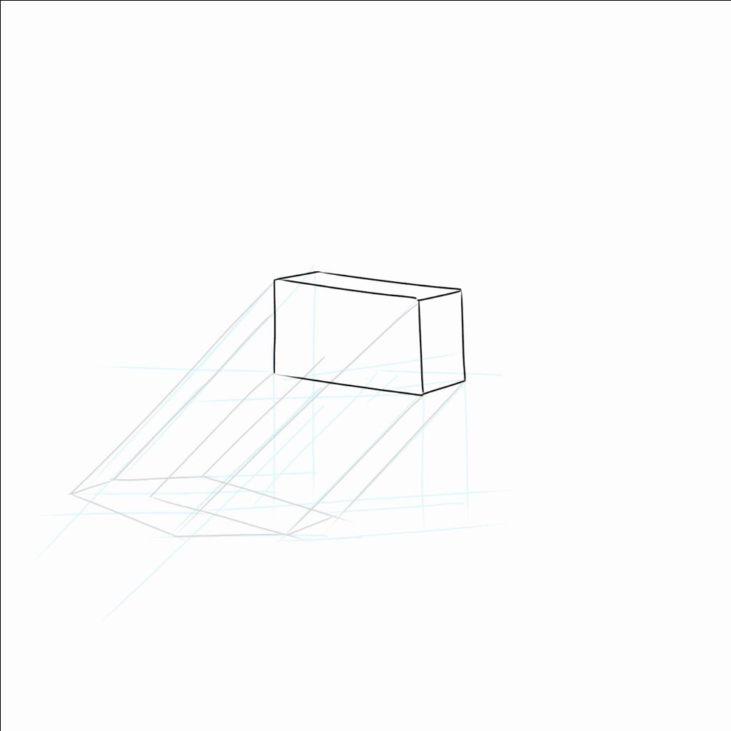 上の箱だけでまず考えて影を作ってしまう