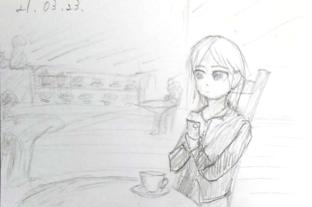 カフェで休憩中のOL