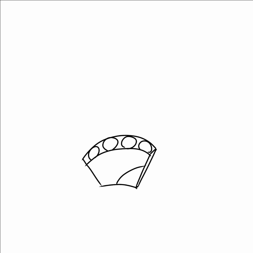 手は弧を描いているのが通常