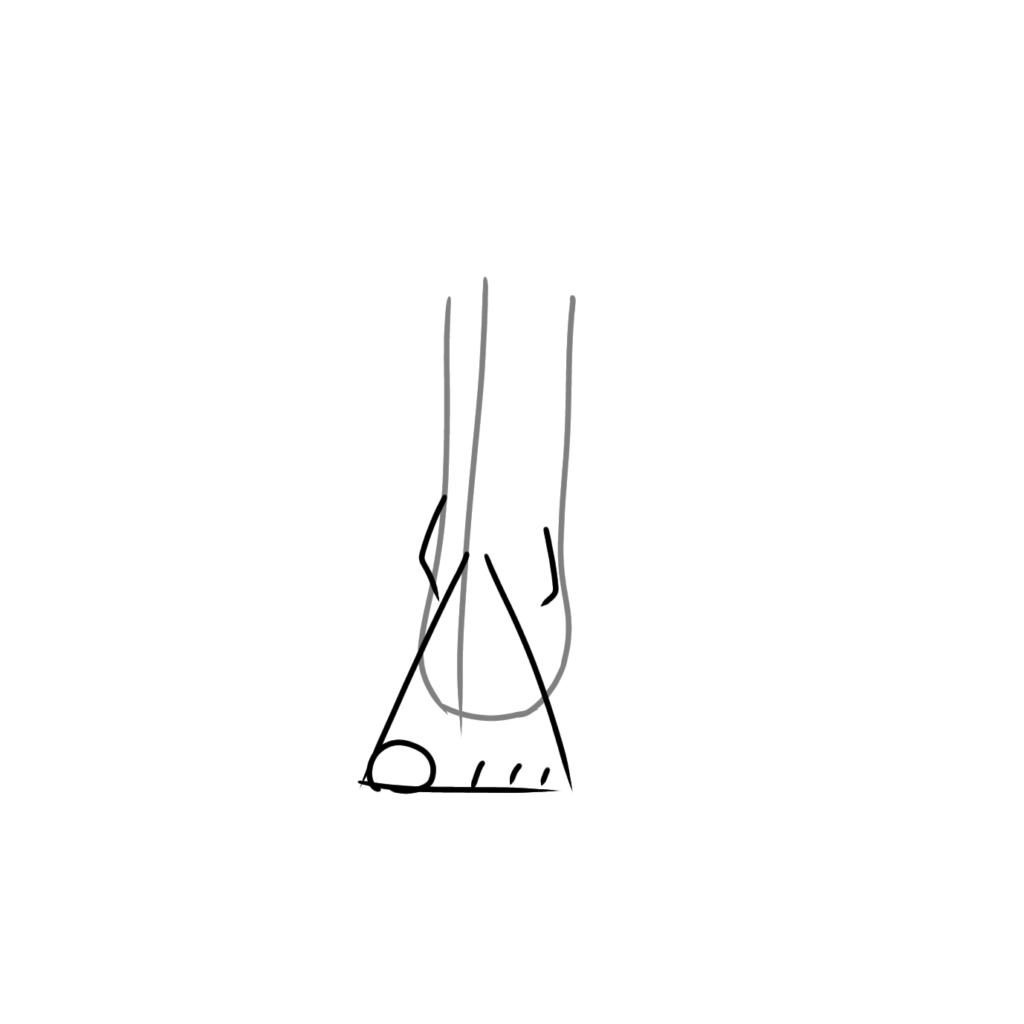 足を三角形で描く
